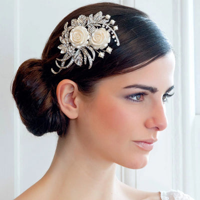 Rode Garden bridal headpiece shown in a low chignon hairstyle
