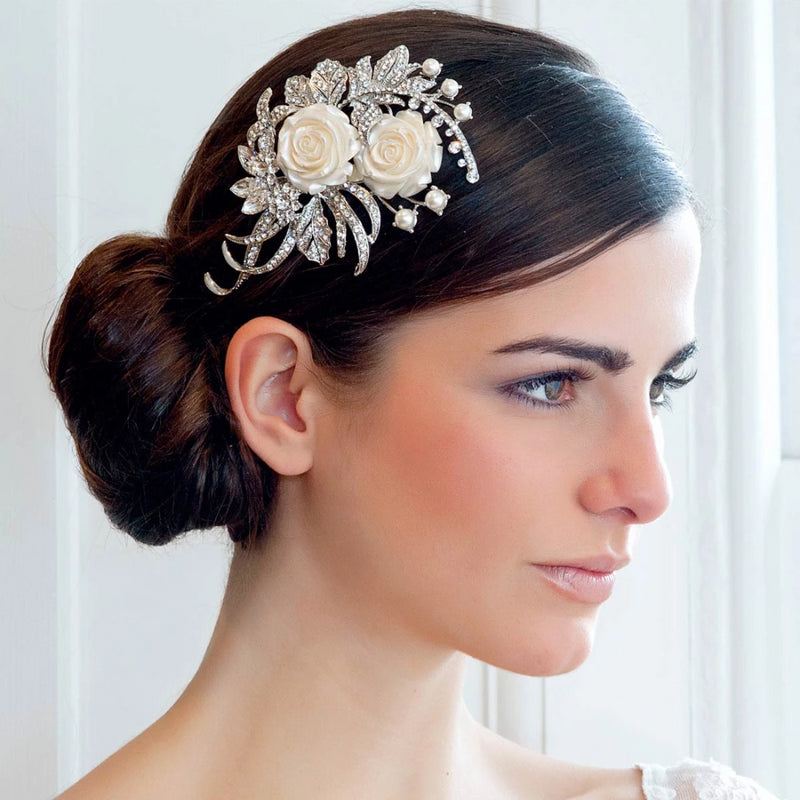 Rose Garden crystal and ivory rose wedding headpiece