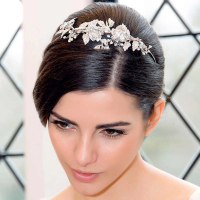 Rose Garland bridal tiara shown in an up-do hairstyle