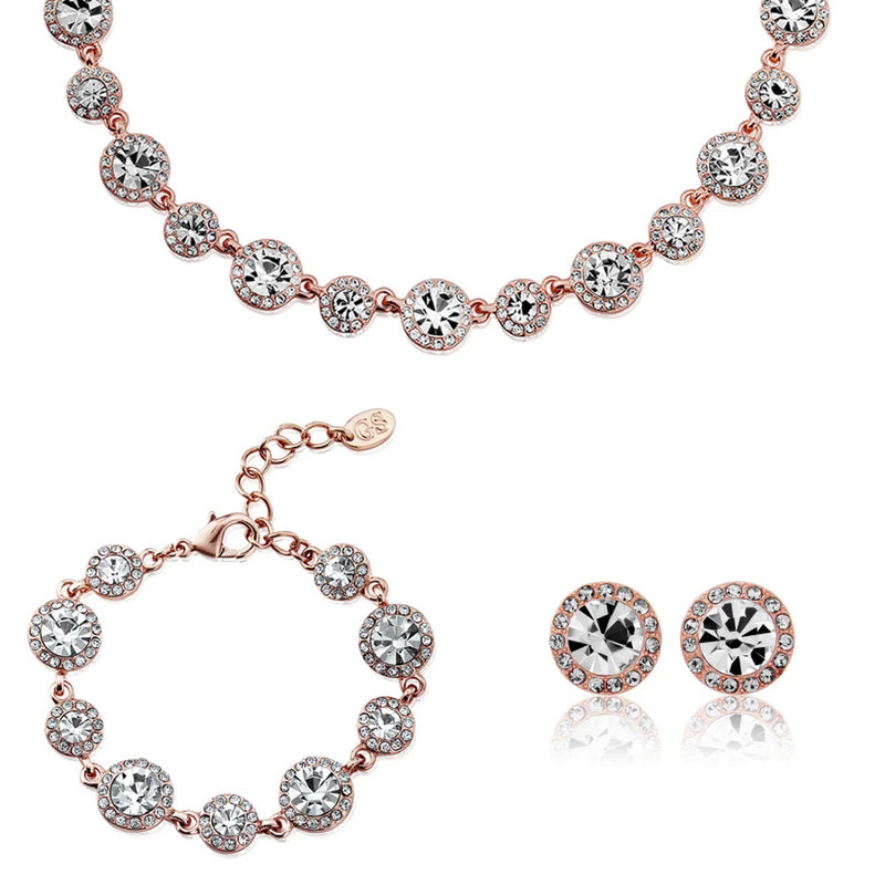 Rose Gold Starlet crystal wedding jewellery set