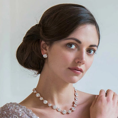 Rose Gold Starlet Necklace shown on our model bride