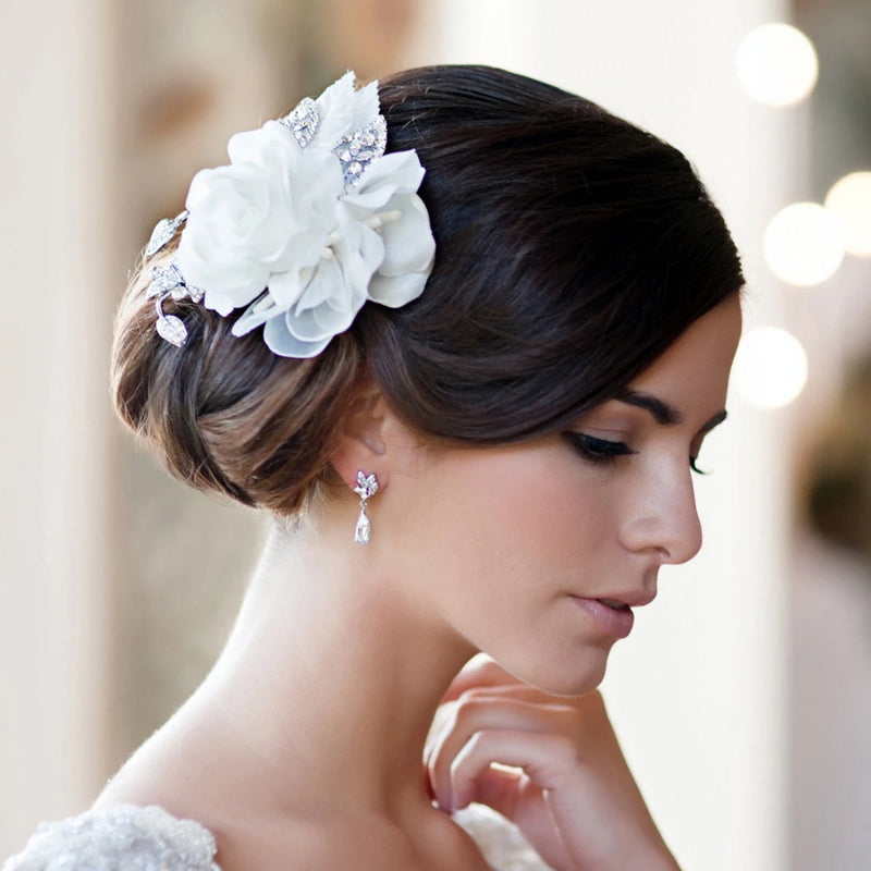 Roses of Grace silky rose and crystal vintage wedding hair flower