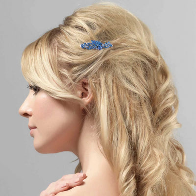 Sapphire Style blue bridal hair comb shown in a half up hairstyle