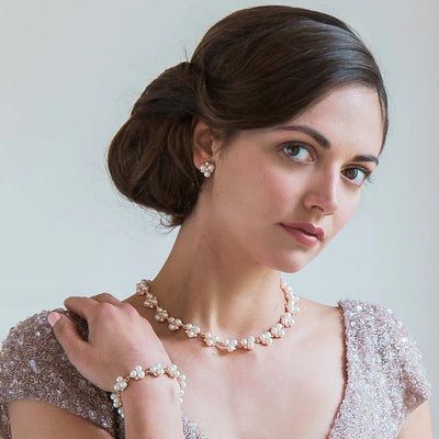 Shimmer of Rose Gold bridal bracelet shown on our model bride