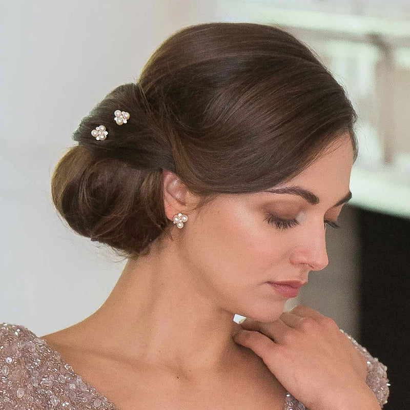 Shimmer of Rose Gold pearl crystal wedding hair pins