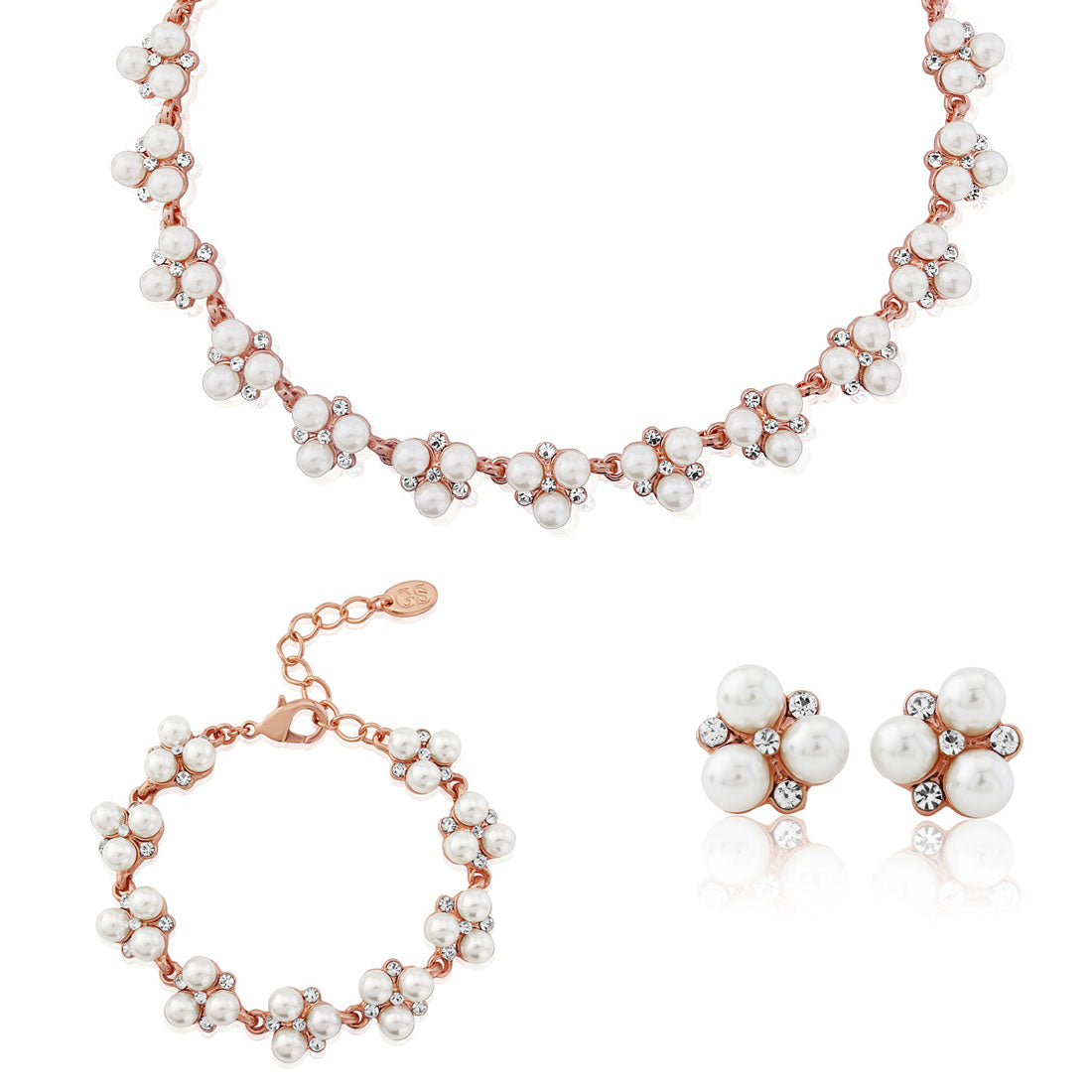 Shimmer of Rose Gold pearl and crystal wedding jewellery set