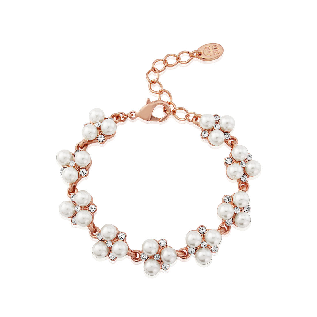 Shimmer of Rose Gold pearl crystal wedding bracelet