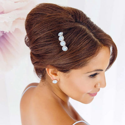 Shimmering Sky bridal hair comb shown in an up-do hairstyle