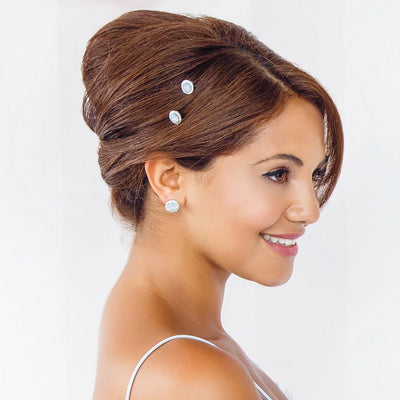 Shimmering Sky bridal hair pins shown in an up-do hairstyle