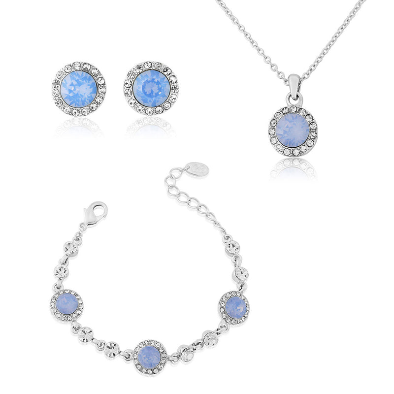 Shimmering Sky pale blue crystal wedding jewellery set