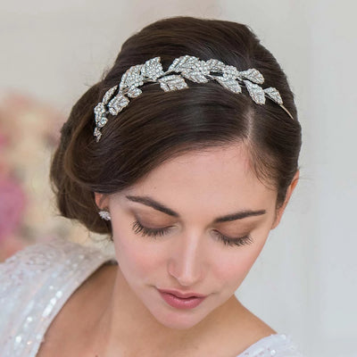 Silver Goddess Side Tiara shown in a side chignon hairstyle