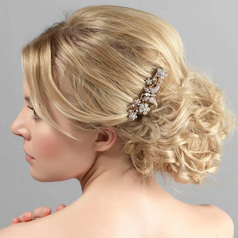 Simply Enchanting gold crystal butterfly wedding hair comb