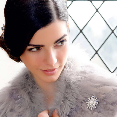 Snowflake of Beauty Bridal Brooch shown on our model bride