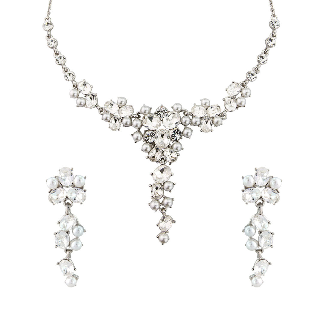 Sparkling Pearl crystal  wedding jewellery set