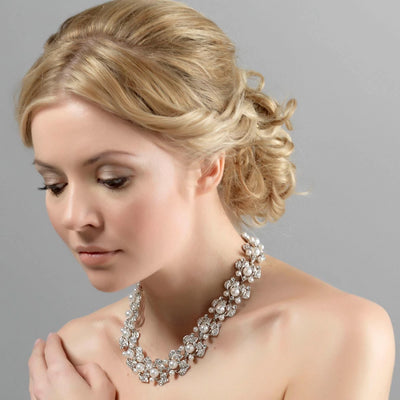 Starlet in Pearls Bridal necklace shown on our model bride