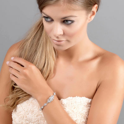 Starlet of Class bridal bracelet shown on our model bride