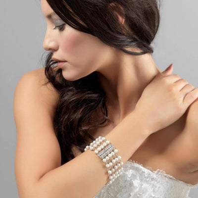 Model bride wears Starlet of Pearl Bridal Bracelet