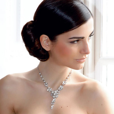 Model bride wears Starlet of the Forties Crystal Y Necklace