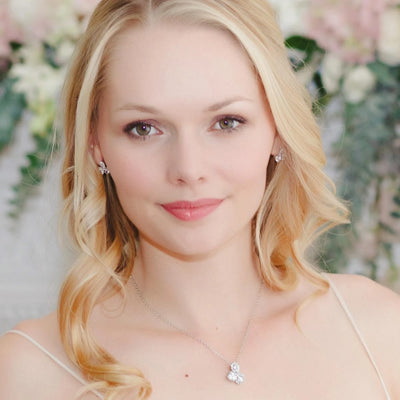 Starlet's Trio Dainty Crystal Pendant shown on our model bride