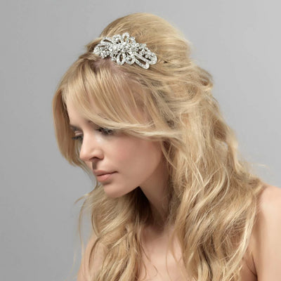 Starlet's Heirloom Wedding Side Tiara shown in a half up bridal hairstyle