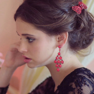 model wears Strictly Scarlet Red Crystal Chandelier Fashion Earrings