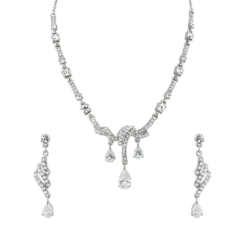 Timeless Beauty Jewellery Set featuring crystal drop earrings and necklace