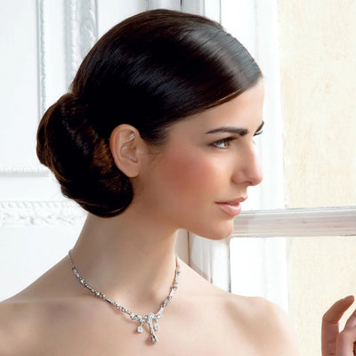 Model bride wears Timeless Beauty Crystal Wedding Necklace