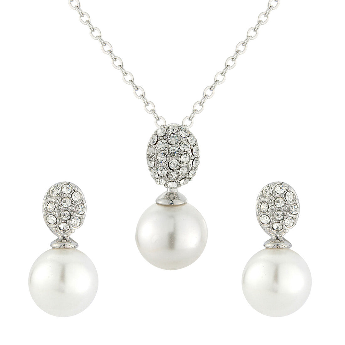 Timeless Elegance Pearl Bridal Jewellery Set featuring earrings and pendant