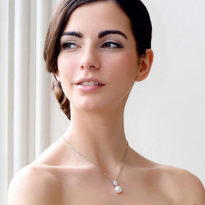Model bride wears Timeless Elegance Pearl Pendant