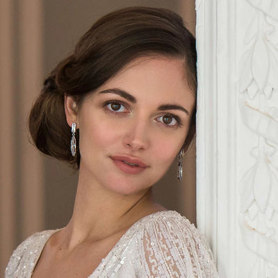 Model bride wears Timeless Icon Cubic Zirconia Earrings