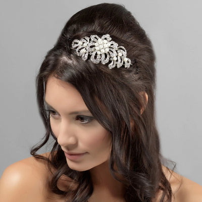Timeless Pearl Side Tiara styled in a half-up bridal hairstyle