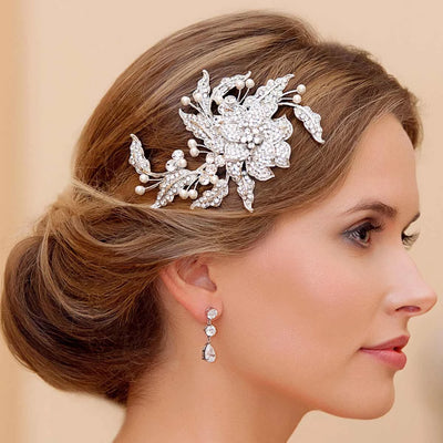 Trailing Petals Headpiece styled in a bridal chignon hairstyle