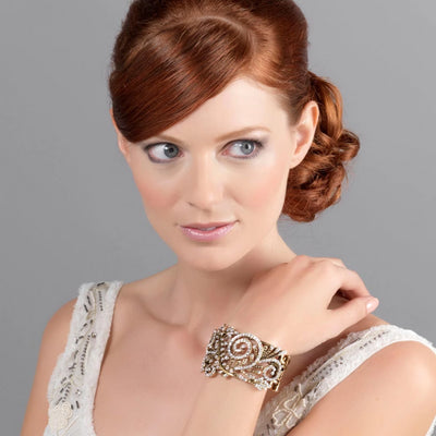 Model wears Treasured Beauty Gold Vintage Bangle