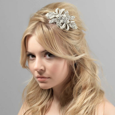 Treasured Pearl Bridal Side Tiara styled in a half-up hairstyle