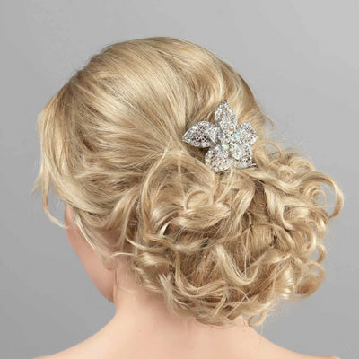Tropical Dream Crystal Lily Hair Clip styled in a wavy up-do hairstyle
