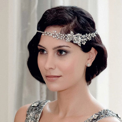 Twenties Charm Hair Band styled across the forehead in a Marcel Wave hairstyle