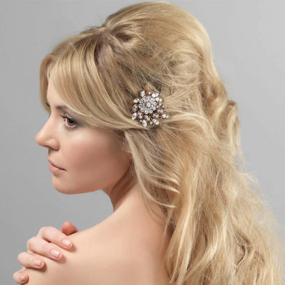 Twenties Darling Gold Gatsby Hair Slide styled in a half-up hairstyle
