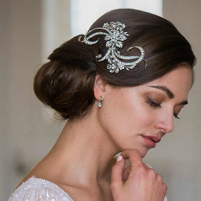 Twenties Extravagance Bridal Hair Comb styled in a bridal chignon hairstyle