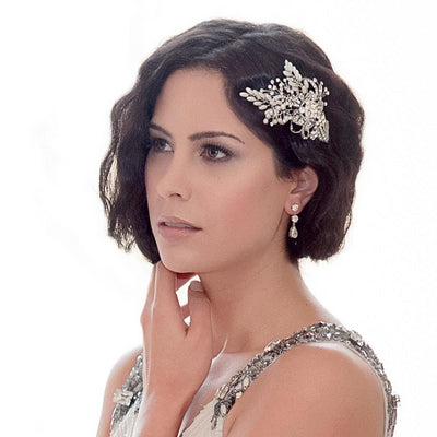 Twenties Romance Pearl Headpiece styled in a vintage wedding hairstyle