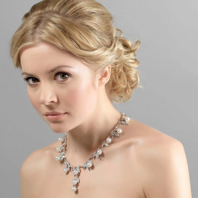 Vine of Pearl Leaf Wedding Necklace worn by our model bride