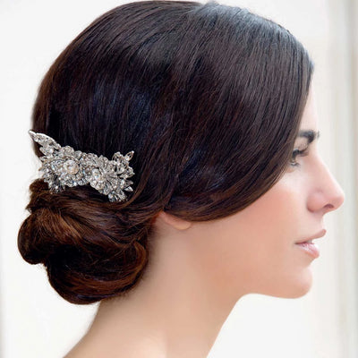 Model wears Vintage Blooms Bridal Hair Pins