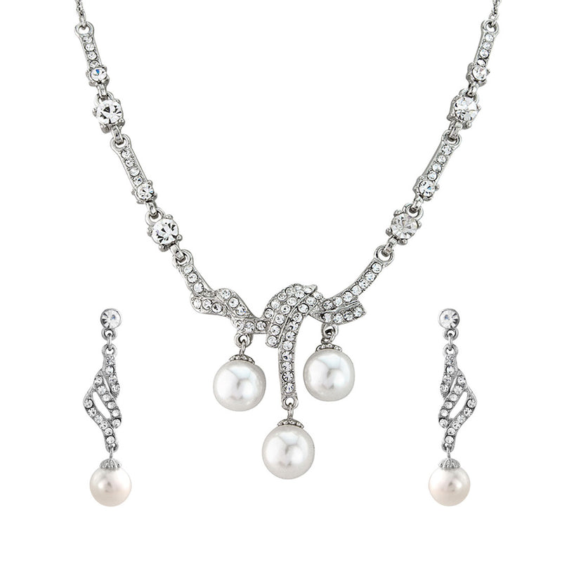 Vintage Elegance Crystal and Pearl Drop Bridal Jewellery Set