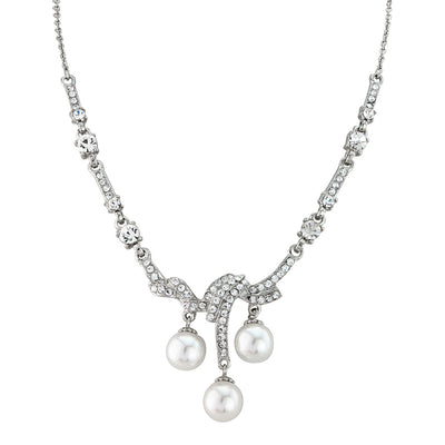 Vintage Elegance Crystal and Pearl Drop Necklace