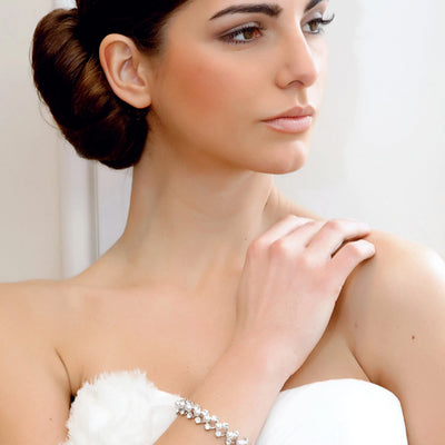 Vintage Eternity Crystal and Pearl Wedding Bracelet shown on our model bride