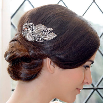 Model wears Vintage Leaves Smoky Crystal Hair Clip in a Chic up-do