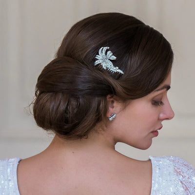 Vintage Lily Hair Comb shown in an up bridal hairstyle