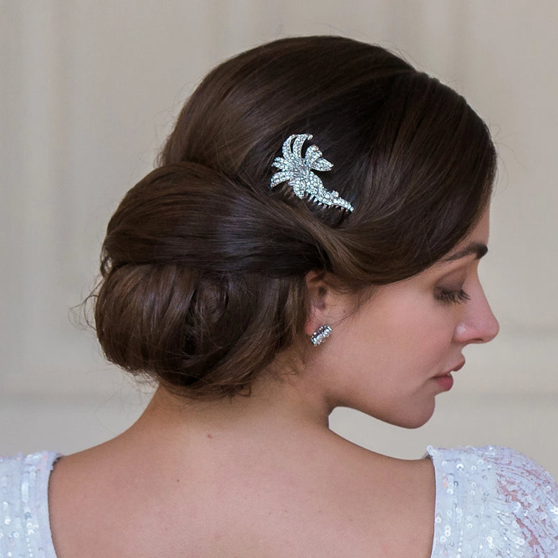 Vintage Lily Crystal Floral Bridal Hair Comb