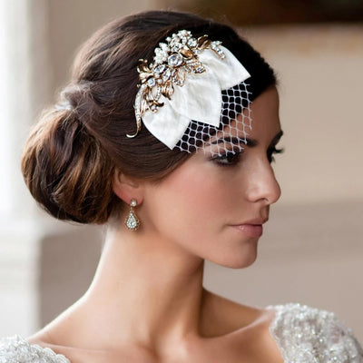 Vintage Petal Gold Bridal Headpiece with silky ivory petals
