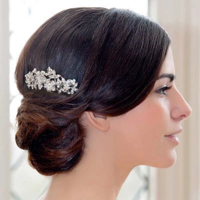 Vintage Posy Hair Comb shown in a side chignon hairstyle