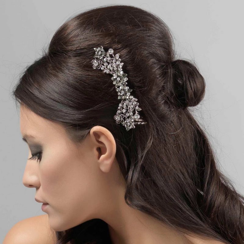 Vintage Romance smokey crystal floral bridal hair comb